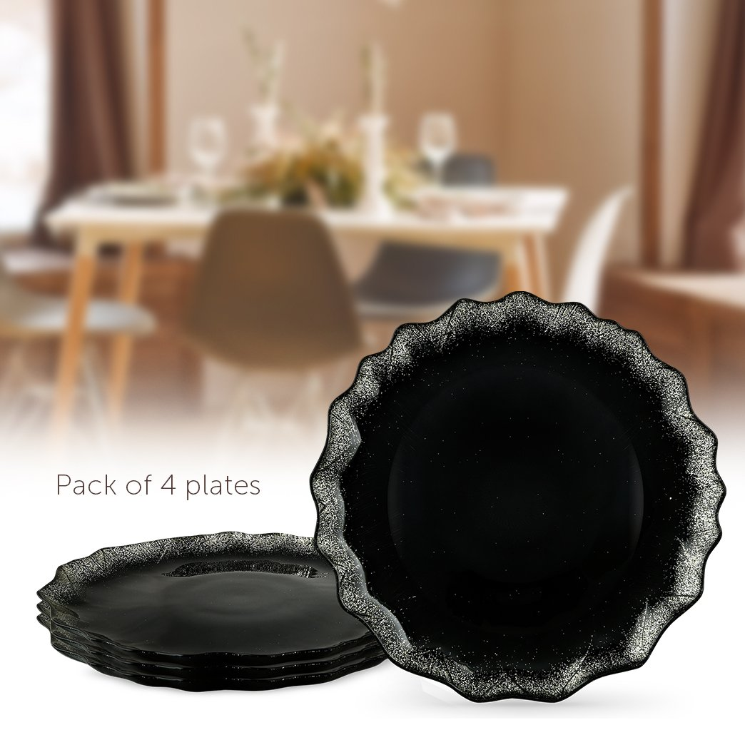 MITBAK Sparkling Glass Dessert/Accent Plates – Modern, Elegant, Fancy – Great for all occasions (weddings, holidays, parties)– Heavy Duty - Made in Turkey - Set of 4 (Sparkly Black)