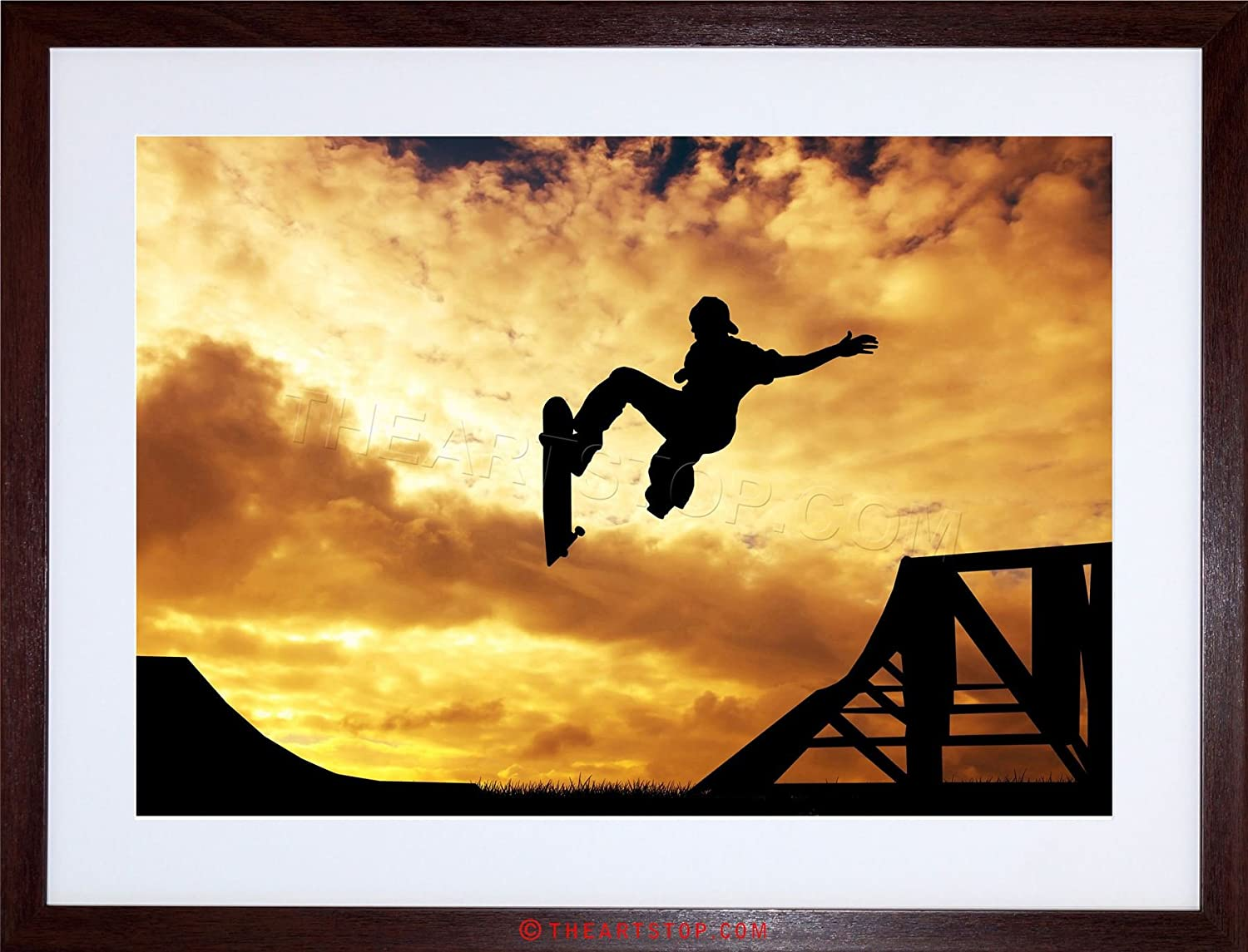 Amazon.com: PHOTO COMPOSITION SPORT SUNSET SKATEBOARD SILHOUETTE ...