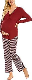 Women S Maternity Pajamas Nursing Sleepwear Autumn Classic Winter Maternity Pajamas Long Sleeve V Neck Striped Pajama Pants Maternity Clothes