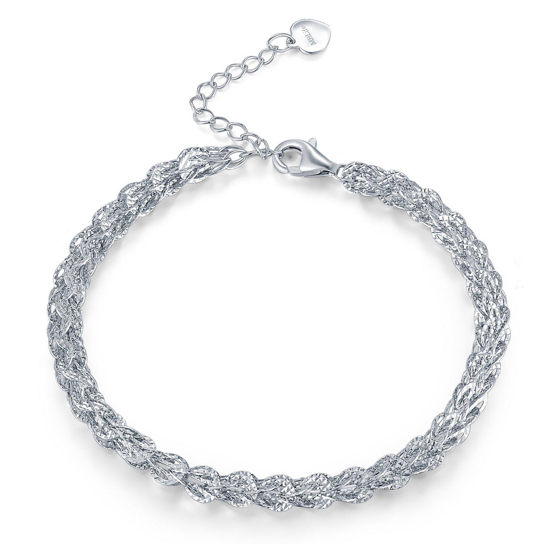 MBLife 925 Sterling Silver Diamond-Cut Big Wheat Chain Bracelet (6.5)