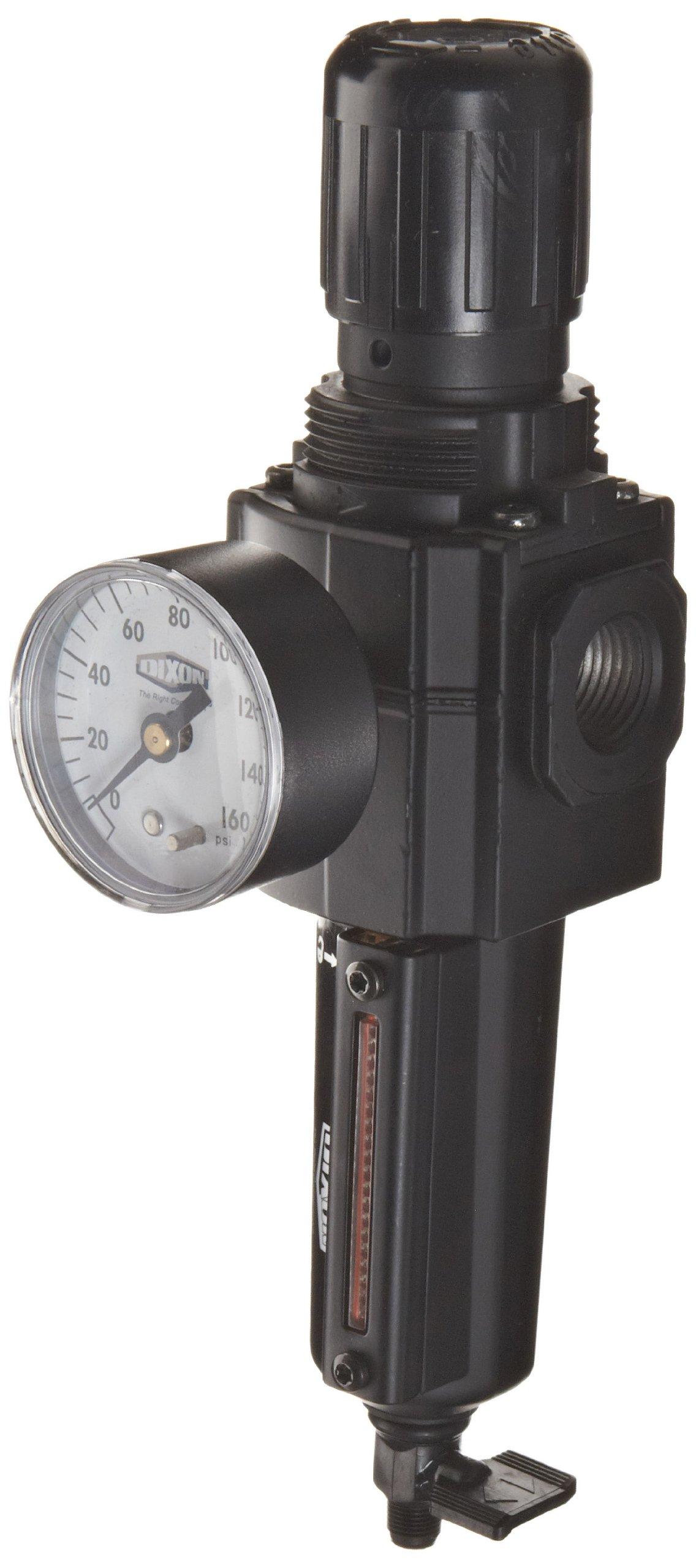 Dixon B73G-4MG-MB Norgren Series Manual Drain Filter/Regulator with Metal Bowl and Sight Glass, 3/8'' Basic, 123 SCFM, 1/2'' Port Size, 5-150 PSI by Dixon Valve & Coupling