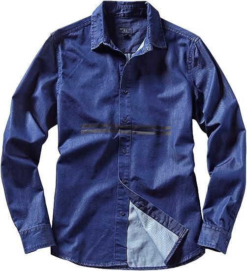 Matchstick デニムシャツ カジュアルシャツ メンズ トップス メンズ 春夏 デニム シャツ コットン ファッション ウォッシュ加工 長袖 ダークブルー ライトブルー #2013