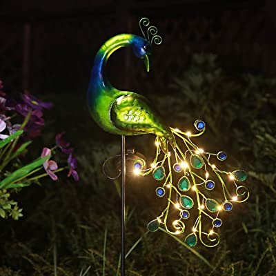 solar garden lights metal peacock garden decor waterproof peacock solar stake for outdoor patio yard decorations