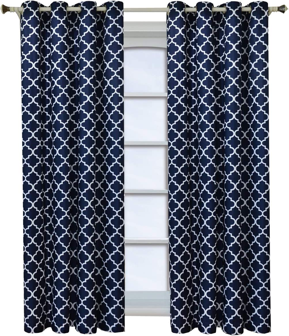 Royal Tradition Meridian, 52-Inch Wide x 84-Inch Long, Set of 2, Thermal Insulated Room Darkening Curtains, Navy