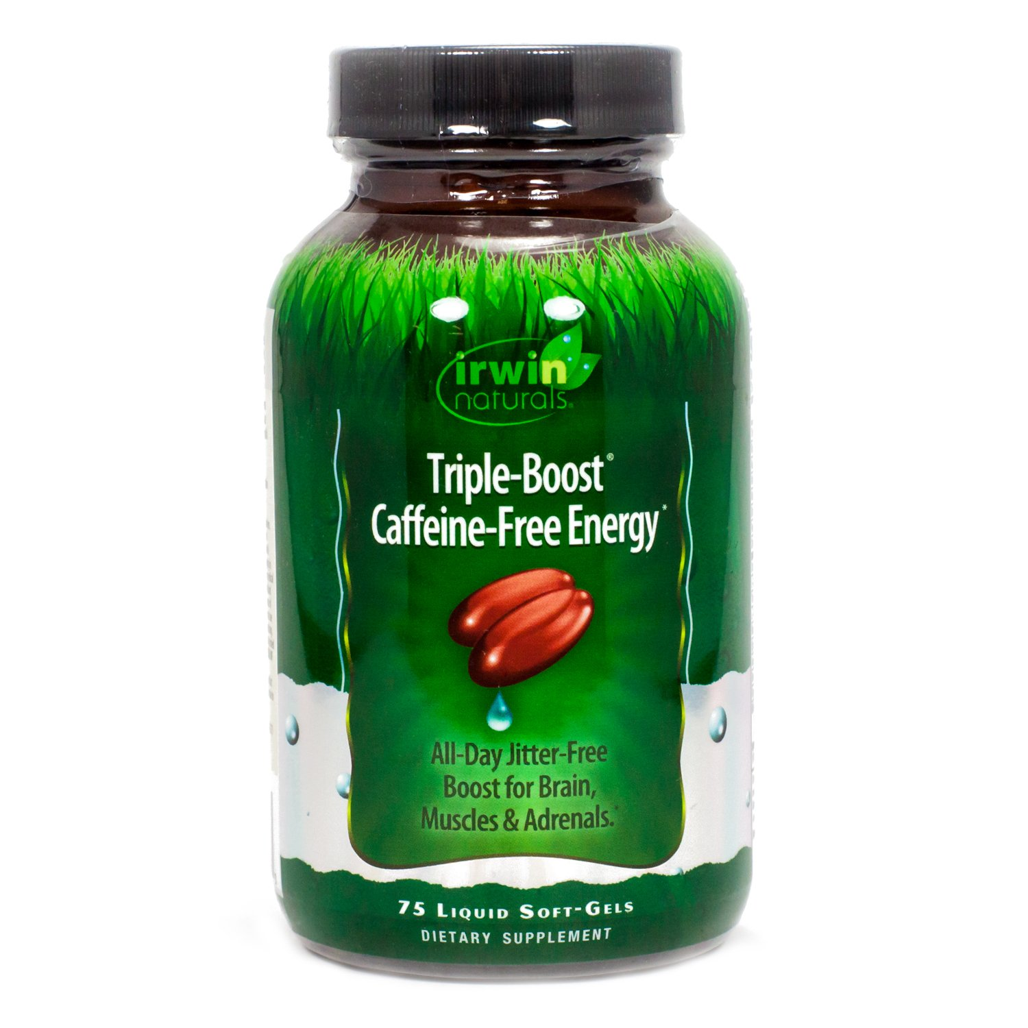 Irwin Naturals Triple-Boost Caffeine-Free Energy All Day Jitter-Free Boost for Brain, Muscles & Adrenals - 75 Liquid Soft-Gels