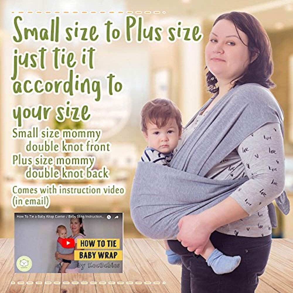 Mystic Gray Infant Carrier Babys Wrap Baby Sling Baby Wrap Carrier All-in-1 Stretchy Baby Wraps Best Baby Shower Gift One Size Fits All Hands Free Babies Carrier Wraps