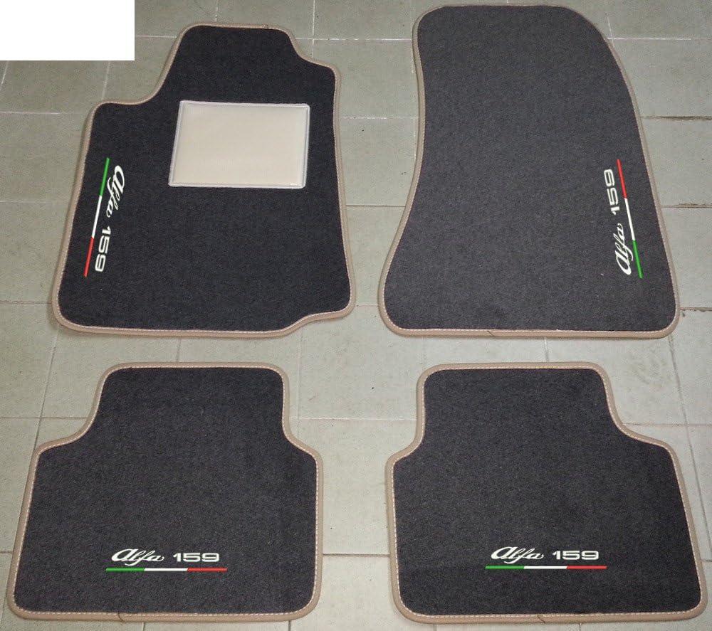 ALFA ROMEO 159/Tapis pour Voiture anthracite avec bord Beige Set complet de tapis en moquette sur mesure avec broderie /à fil Ligne tricolore Bianco