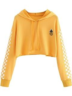 8a5ca6e304e39 MAKEMECHIC Women s Pineapple Embroidered Hoodie Plaid Crop Top Sweatshirt