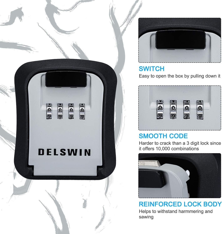 Key Lock Box Waterproof Combination Lockbox Wall Mounted Key Storage Lock Box for Office,Realtors,House Spare Keys,Holds Up to 6 Keys Black