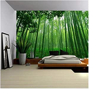Wall26 - Close Up View into a Pure Green Bamboo Forest - Wall Mural, Removable Sticker, Home Decor - 100x144 inches