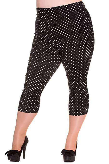 Women's 1960s Style Pants Hell Bunny Plus 60s Retro Pinup Doll Polka Dot Capri Pants $55.00 AT vintagedancer.com