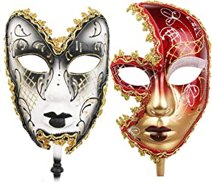 YU FENG One Pair Couple's Gorgeous Venetian Masquerade Masks Party Costumes Accessory(Couple-3)
