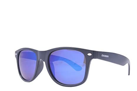 Ocean Sunglasses Beach Wayfarer - Gafas de Sol polarizadas - Montura : Negro Mate - Lentes : Azul Espejo (18202.45)