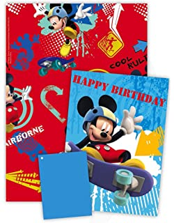 Disney Mickey Wrapping Paper With Birthday Card And Gift Tag