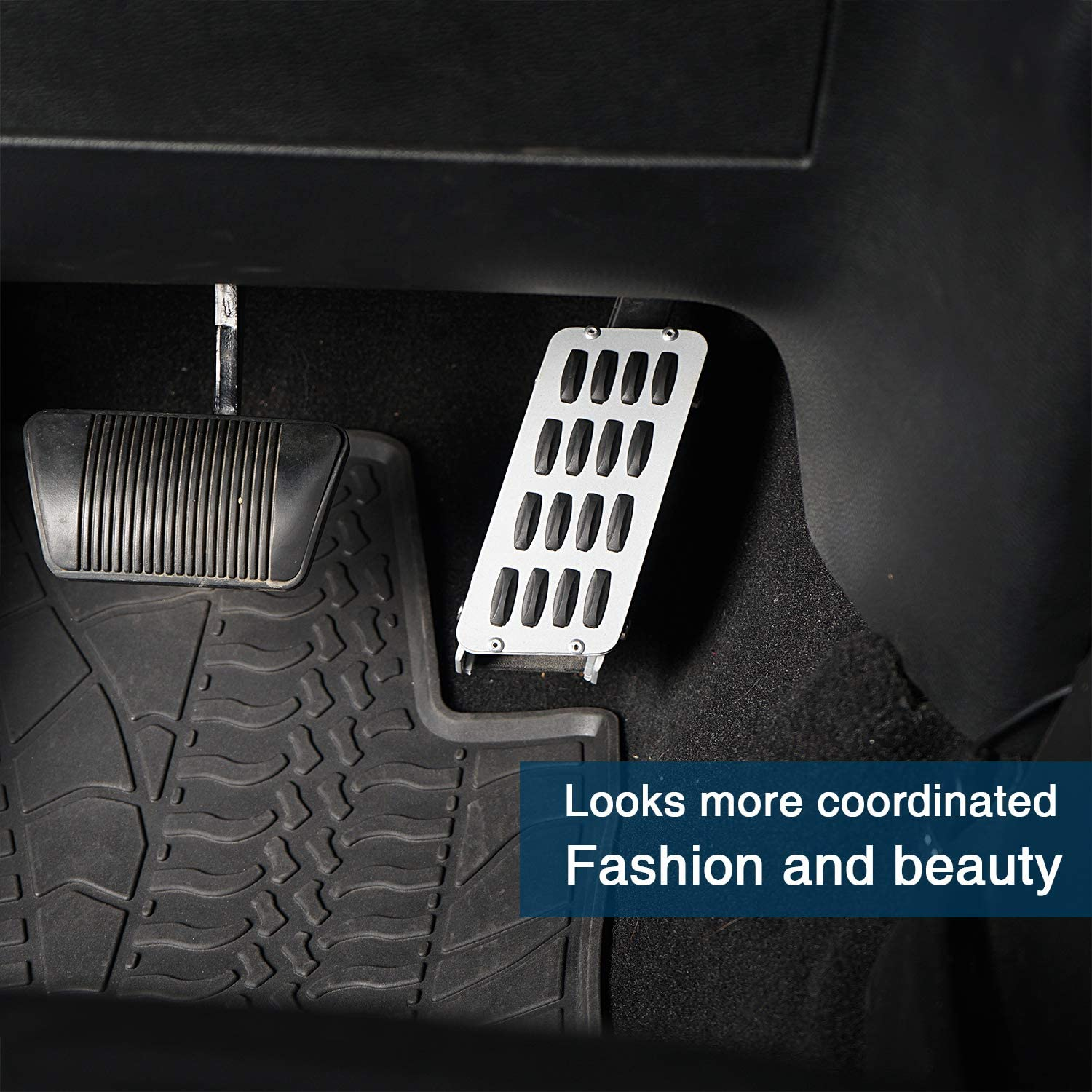 Kutang Modified Gas Pedal Extender Cover Adjustable Driver Foot Rest Pad for 2007-2018 Jeep Wrangler JK /& Unlimited