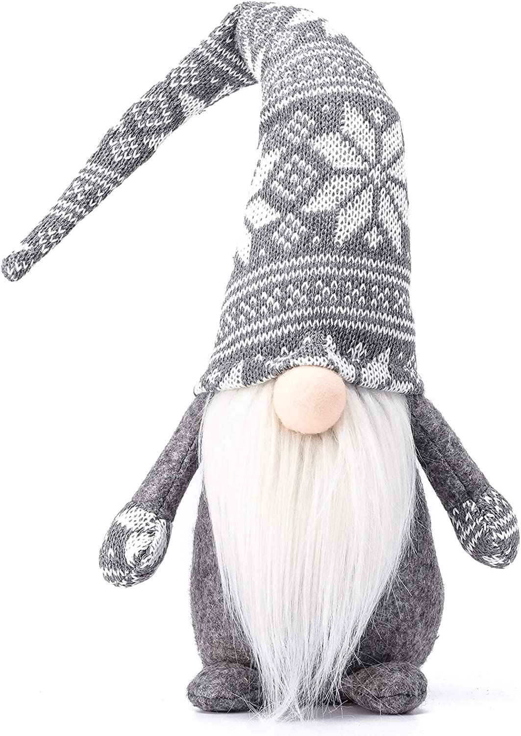 Funoasis Holiday Gnome Handmade Swedish Tomte, Christmas Elf Decoration Ornaments Thanks Giving Day Gifts Swedish Gnomes tomte (Grey Snowflake-19 Inches)