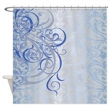 CafePress   Vintage Rococo Blue Damask Shower Curtain   Decorative Fabric Shower  Curtain