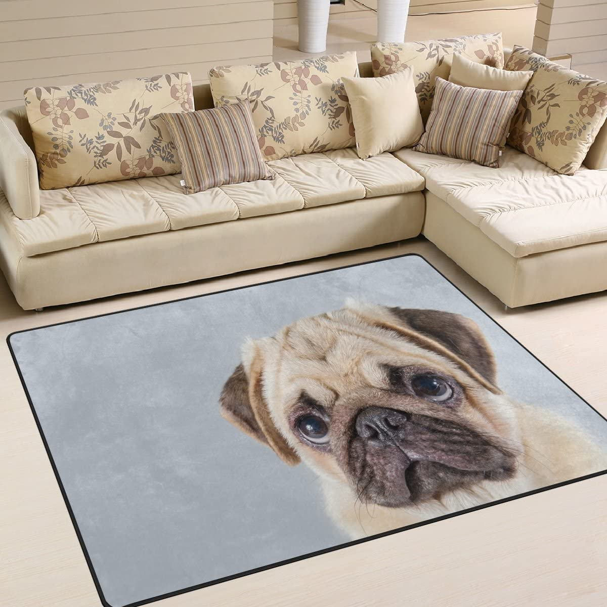 ALAZA Cute Pug Puppy Dog Area Rug Rugs for Living Room Bedroom 7 x 5