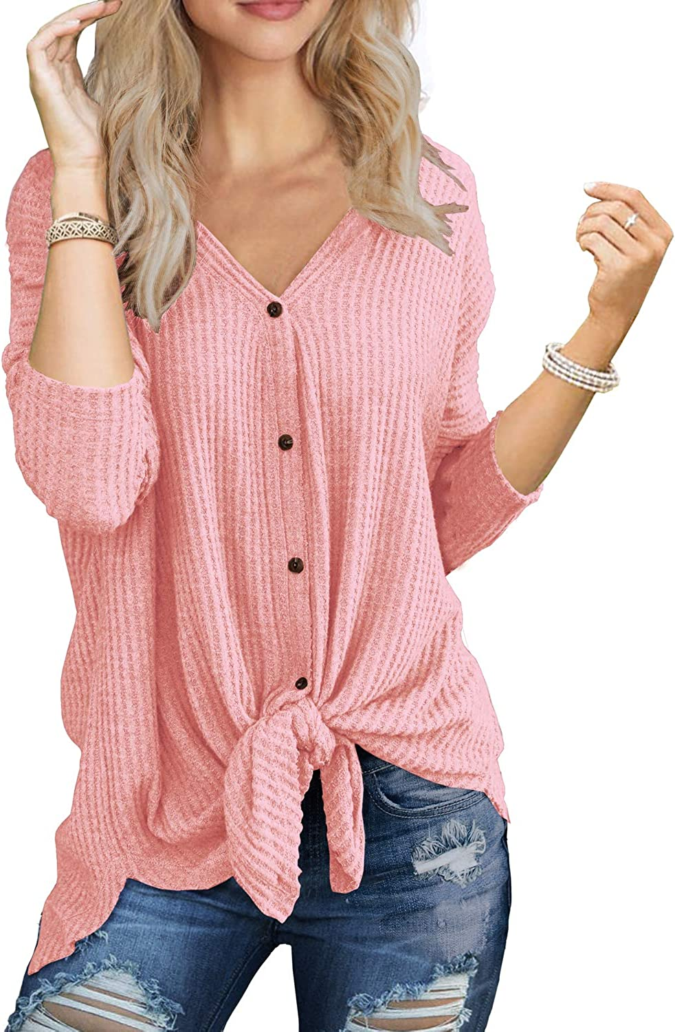 IWOLLENCE Womens Waffle Knit Tunic Blouse Tie Knot Henley Tops Loose Fitting Bat Wing Plain Shirts