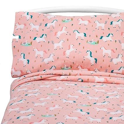Amazoncom Fairytale Frolic Unicorn Flannel Sheet Set Toddler