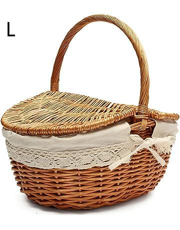 Cesta de picnic de mimbre hecha a mano Cesta de almacenamiento de compras que acampa con
