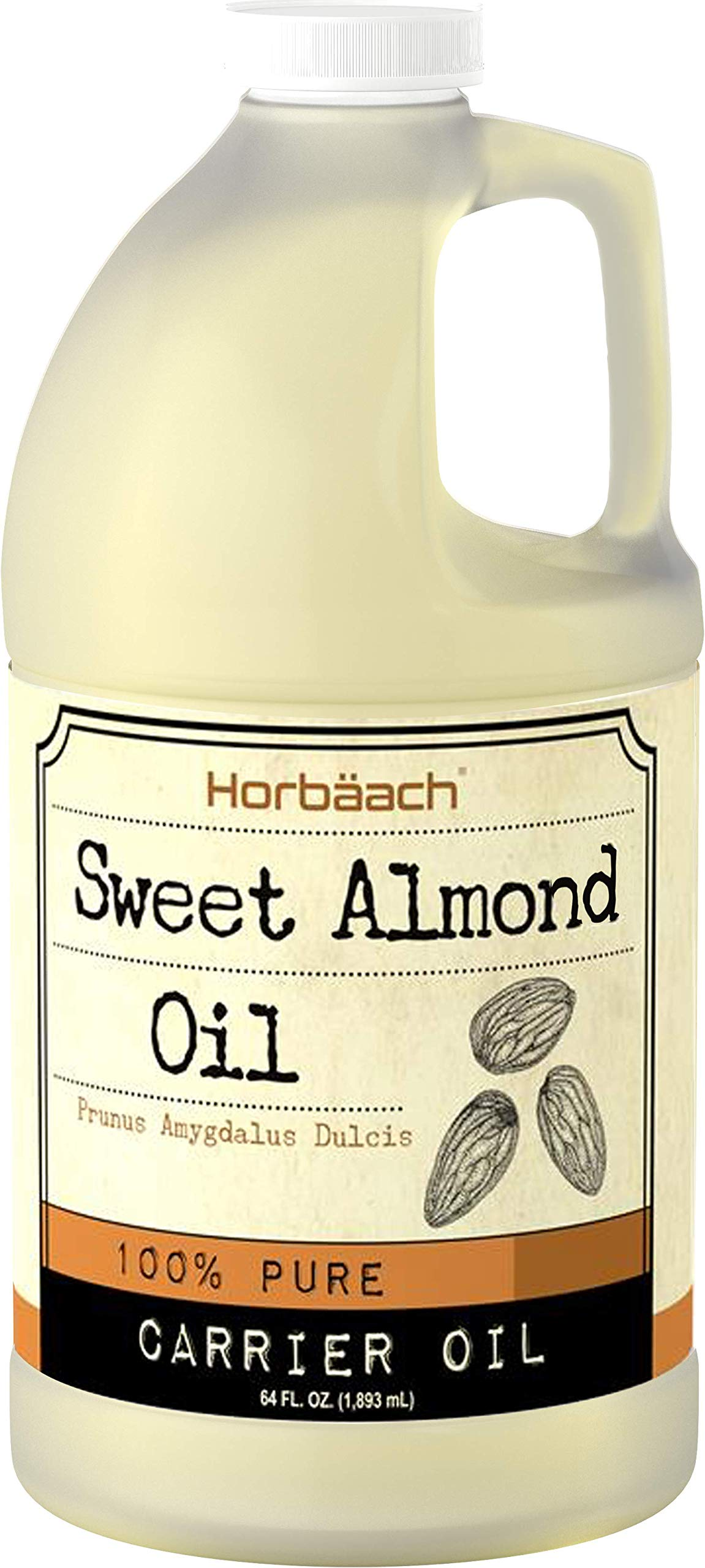 Horbaach Sweet Almond Oil 64 fl oz 100% Pure   for Hair, Face & Skin   Expeller Pressed   Vegetarian, Non-GMO by Horbäach