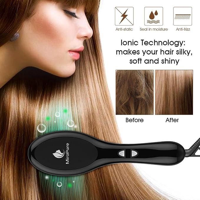 2 en 1 ionischer plancha para el pelo cepillo de pelo con calor beständigen Guantes para terciopelo suave pelo liso sin spliss cerámica pelo peine cepillo ...