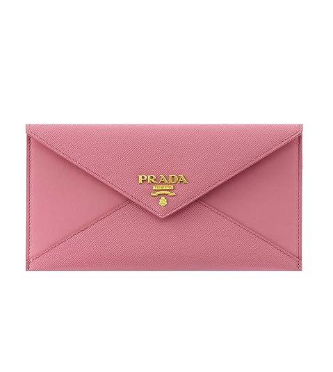 369ed7bffc67 Prada Saffiano Vitello Leather Envelope Clutch Handbag 1MF175 Geranio Light  Pink  Amazon.ca  Shoes   Handbags