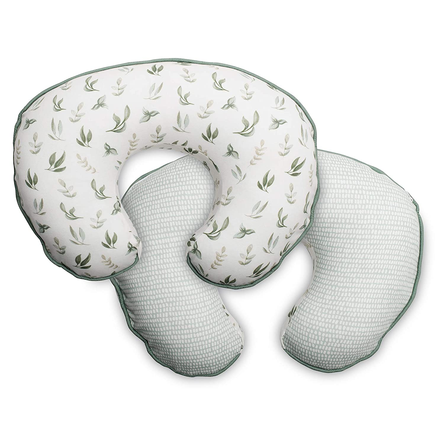 Boppy Organic Fabric Pillow Cover, Green Little Leaves, Fashionable Two-Sided Design, Fits All Nursing Pillows & Positioners