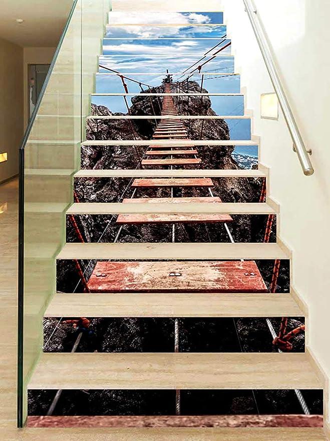Canvas Pegatinas de Escalera,3D Puente Colgante Auto-Adhesivos Pared Pintura Vinilo Escalera calcomanía Decoración 13Piezas: Amazon.es: Hogar