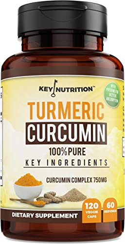 Key Nutrition Turmeric Curcumin Complex with Piperine and Nettle, 100 Pure, Organic – Pain Relief, Anti-Inflammatory, Antioxidant – 120 Capsules