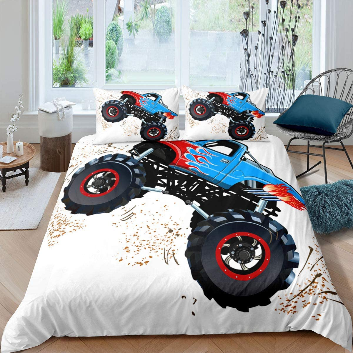 3D Monster Trucks Home Duvet Cover Full Size Boys Dirt Bike Car Bedding Set Extreme Speed Sports Comforter Cover for Kids Teens Adult Enormous Wheels Mountain Buggy Bedclothes Soft Bedroom Décor