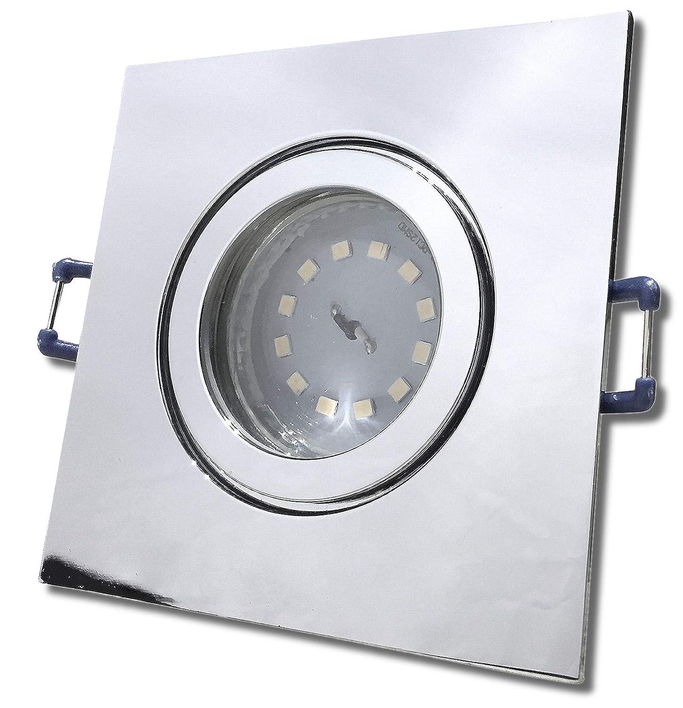 5 Stück IP44 SMD LED Bad Einbaustrahler Neptun 12V 3 Watt Eckig Chrom glänzend Neutralweiß inkl. LED Trafo