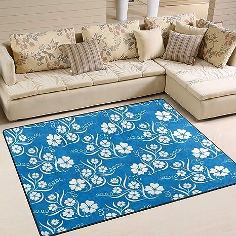 Amazon.com: LORVIES Blue Floral Patterns Area Rug Carpet Non ...