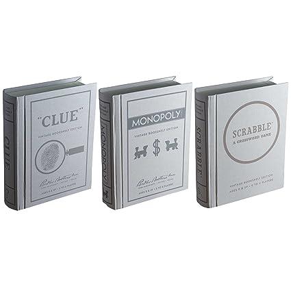 Winning Solutions Clue Scrabble Monopoly Vintage Bookshelf Edition Board Game Bundle