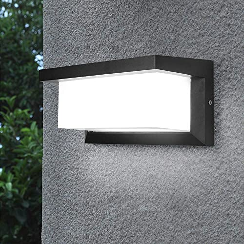 Shinbeam Outdoor Wall Porch Lights Led Matte Black Wall Mount Exterior Lamp Ip65 Waterproof Lighting Fixture 3-Color-Changeable Wall Fixture Warm White Cold White and Nature White Color Black
