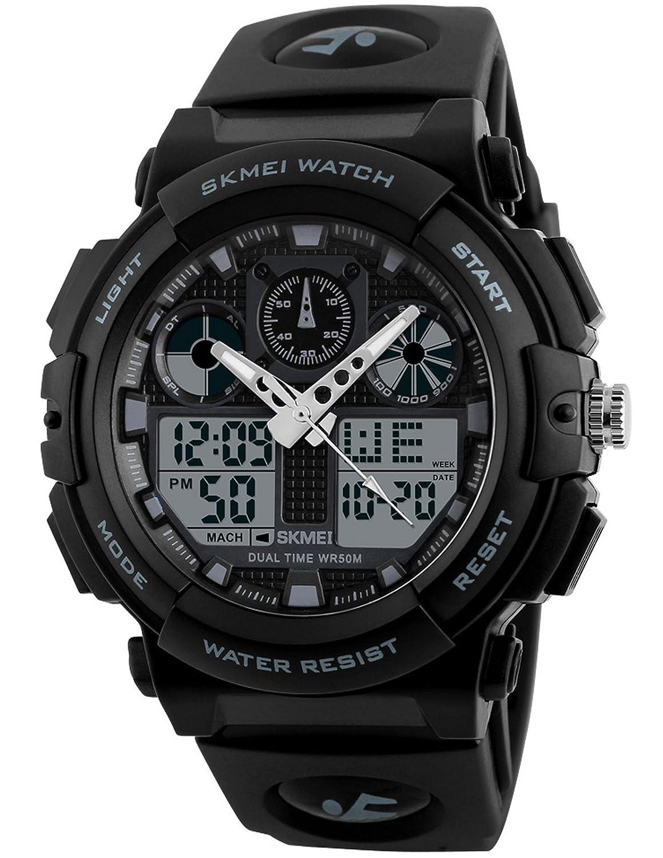 メンズLED防水スポーツArmyアラーム日付アナログデジタルブラック腕時計 ブラックホワイト B075TW6TP2 ブラックホワイト ブラックホワイト
