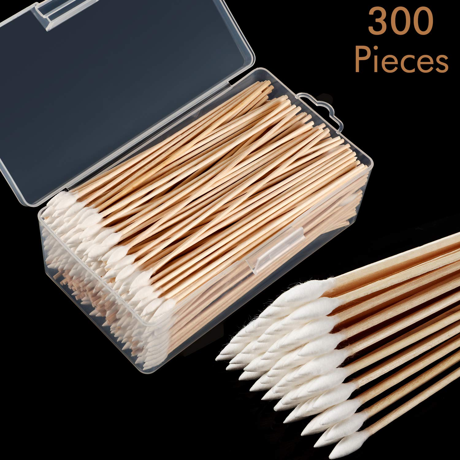Norme Cotton Cleaning Swabs 6 Inch Caliber Cleaning Swabs Single Cuspidal Tip with Wooden Handle for Jewelry Ceramics Electronics in Storage Case (Pointed Tip) by Norme