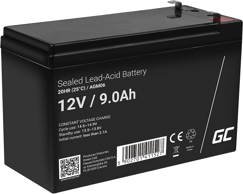 Green Cell® Recambio de Batería AGM (12V 9Ah VRLA Faston F2) Pila sellada de Plomo Acido Recargable Sealed Lead Acid VRLA para alarmas de hogar, Juguetes electricos, Sistemas UPS USV, Solarpanel