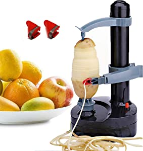 Mifidy Automatic Electric Potato Peeler Rotating Fruits & Vegetables Cutter Apple Paring Machine Kitchen Peeling Tool for Fruit Vegetables Battery Powered (Black)