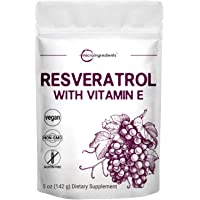 Pure Trans-Resveratrol Powder with Vitamin E, 5 Ounce, Super Antioxidant for Cardiovascular Support, Non-GMO and Vegan…