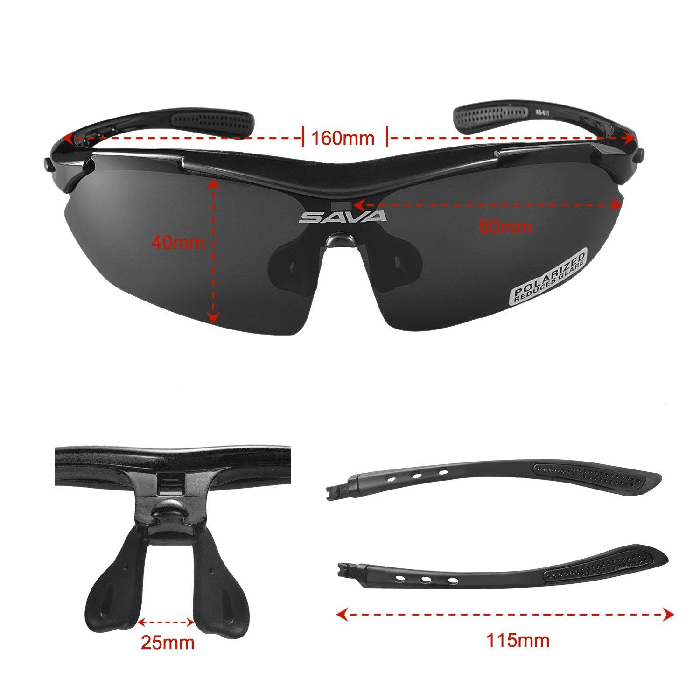 SAVA TR90 Lunettes de Cyclisme Lunettes de soleil polarisées pour les activités de plein air Meilleur Protection des yeux Équipement de vélo multi sport Swap 5 UV400-Lentilles irrégulières (Blanc) y9Q3xSw