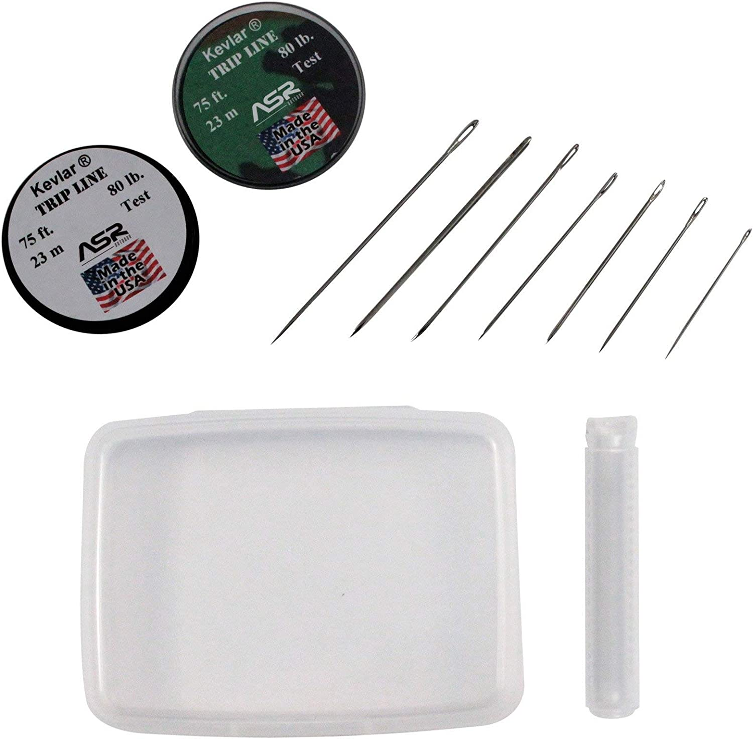 Shomer-Tec Survival Sewing Kit This sewing kit can ensure that whatever you need sewn will stay fixed. It features 2 spools of 80 lb test Kevlar sewing line, each containing 75 feet of braided line.