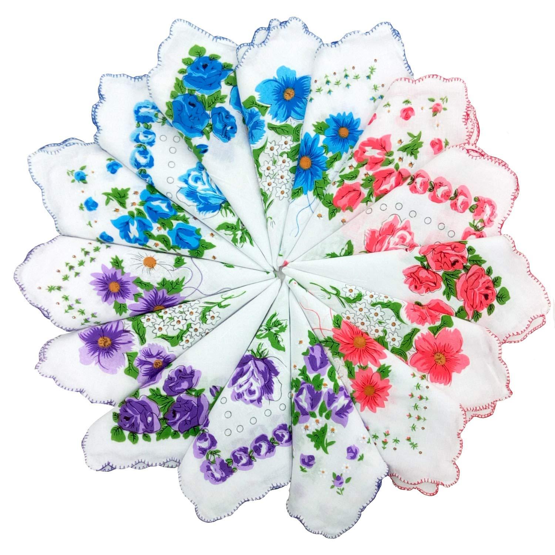 Samidy 10PC Women Girl 100% Cotton Embroidered Folwer Soft Handkerchiefs Square Random Samidy Hair