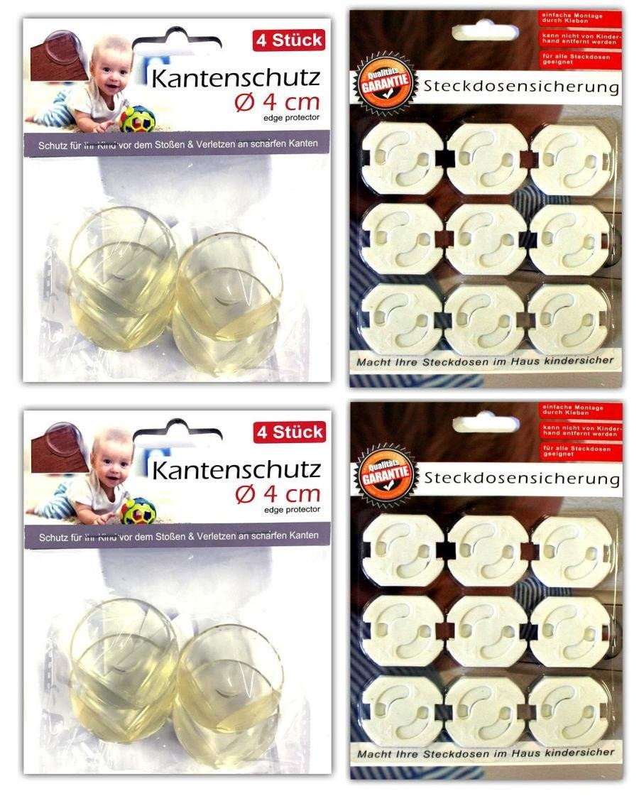 8x Kantenschutz /& 18x Steckdosensicherung Kindersicherung Tischkantenschutz