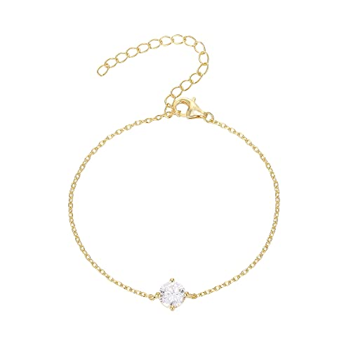PAVOI 14K Gold Plated Simulated Solitaire Diamond Bracelet - Yellow