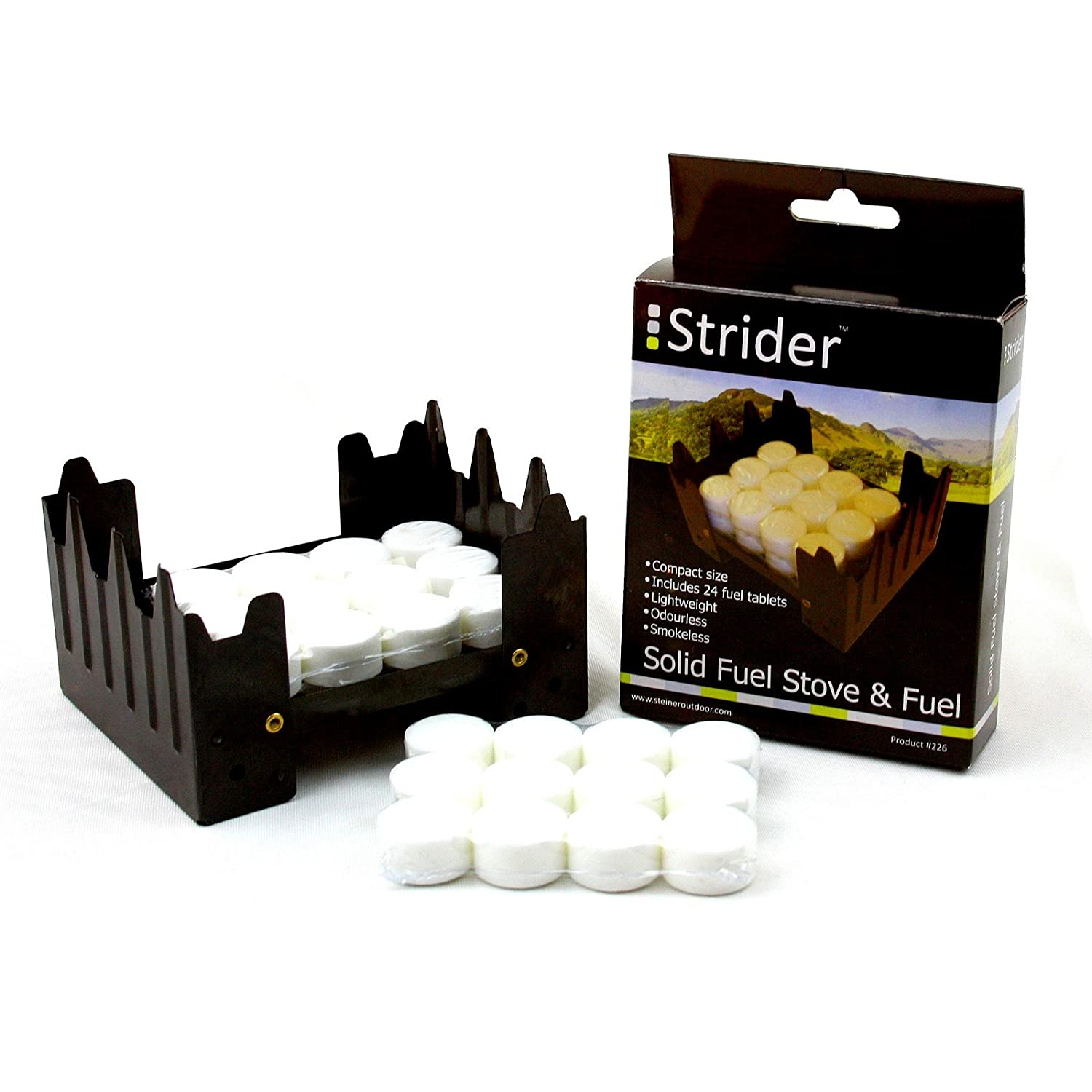 Field Folding Stove for Camping and Hiking Strider Emergency Stove with 24/ Dry Fuel Pellets