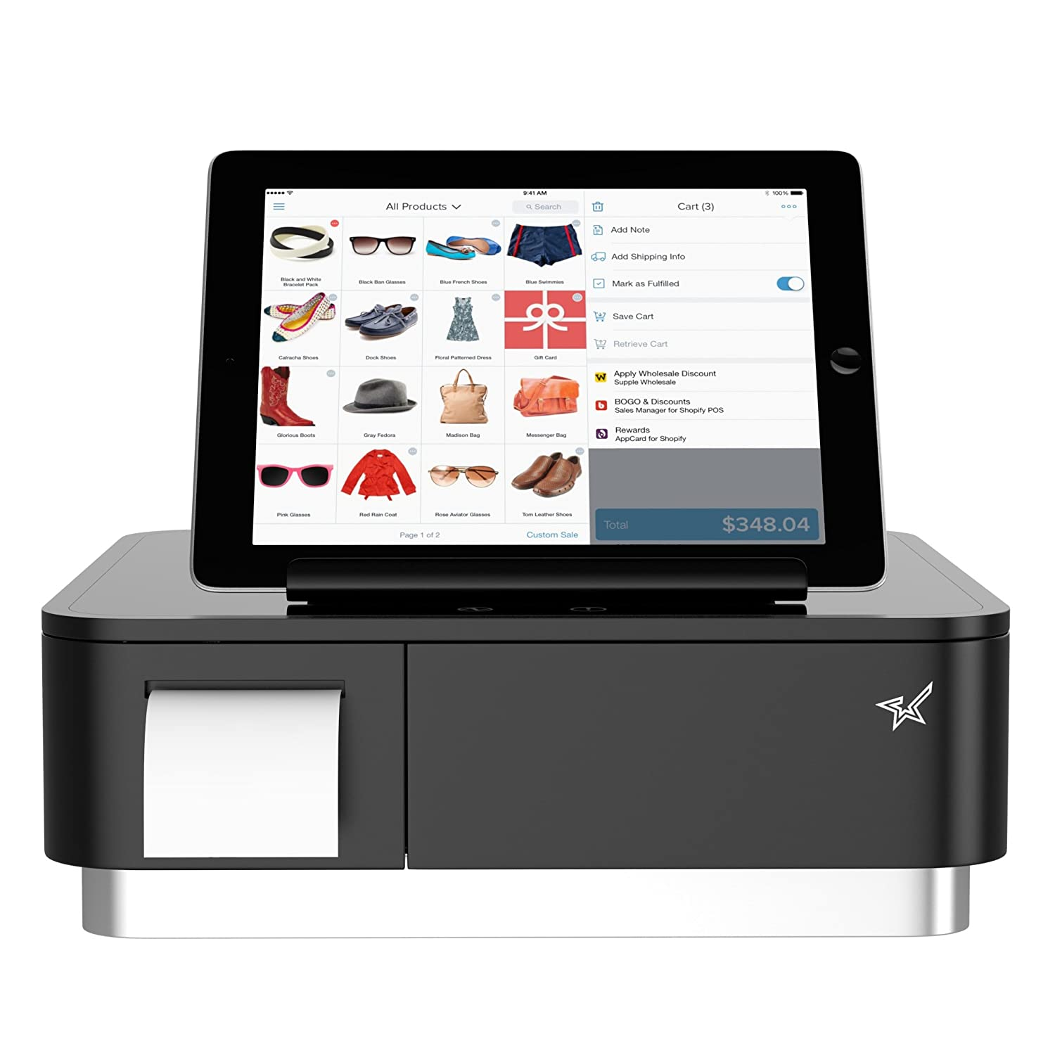 Square and Shopify Register Hardware Bundle Compact- Bluetooth Receipt  Printer, 4 Bill 4 Coin Cash Drawer, Universal Table Stand for iPad Air,  Air2,