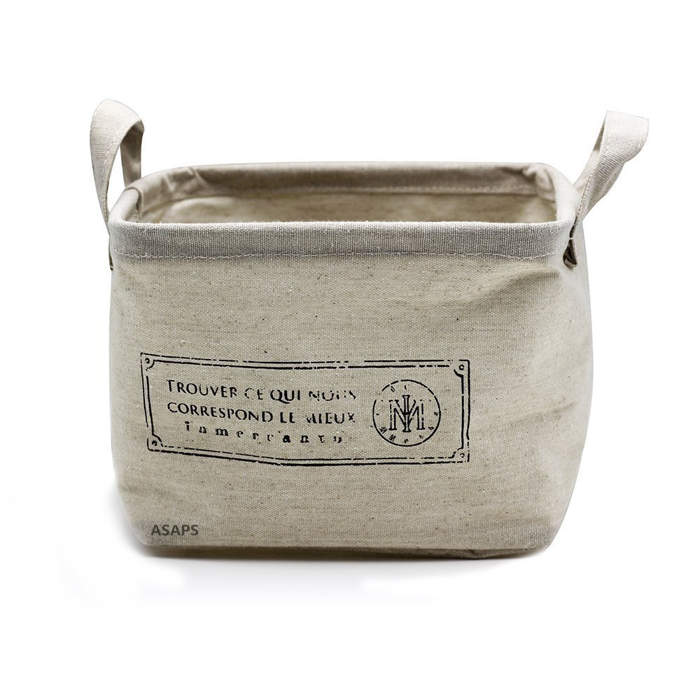 Collapsible Canvas Storage Basket With French Motif - come explore more ideas for French inspired baskets and storage.