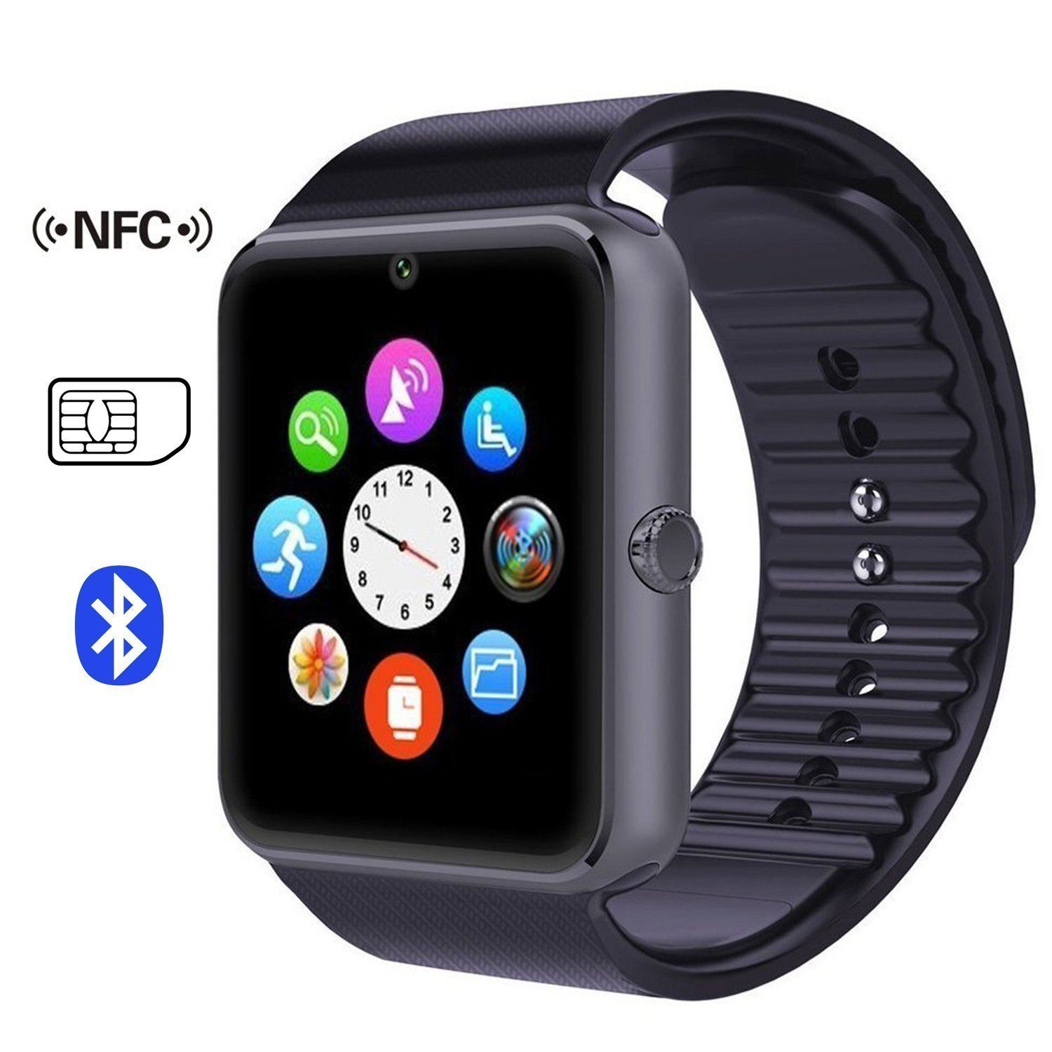 GT08 Touch Screen Slot Push Message Bluetooth Mate Smart Watch For Android Phone---Silver Black